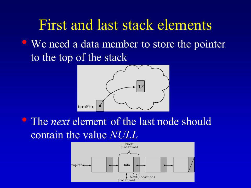 First and last stack elements We need a data member to store the pointer to the top of the stack The next element of the last node should contain the value NULL