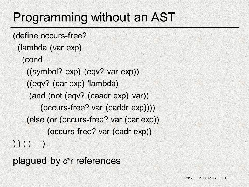 plt-2002-2 6/7/2014 3.2-17 Programming without an AST (define occurs-free.