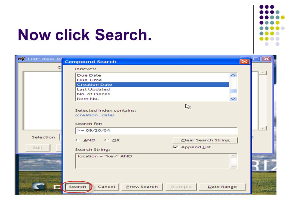Now click Search.