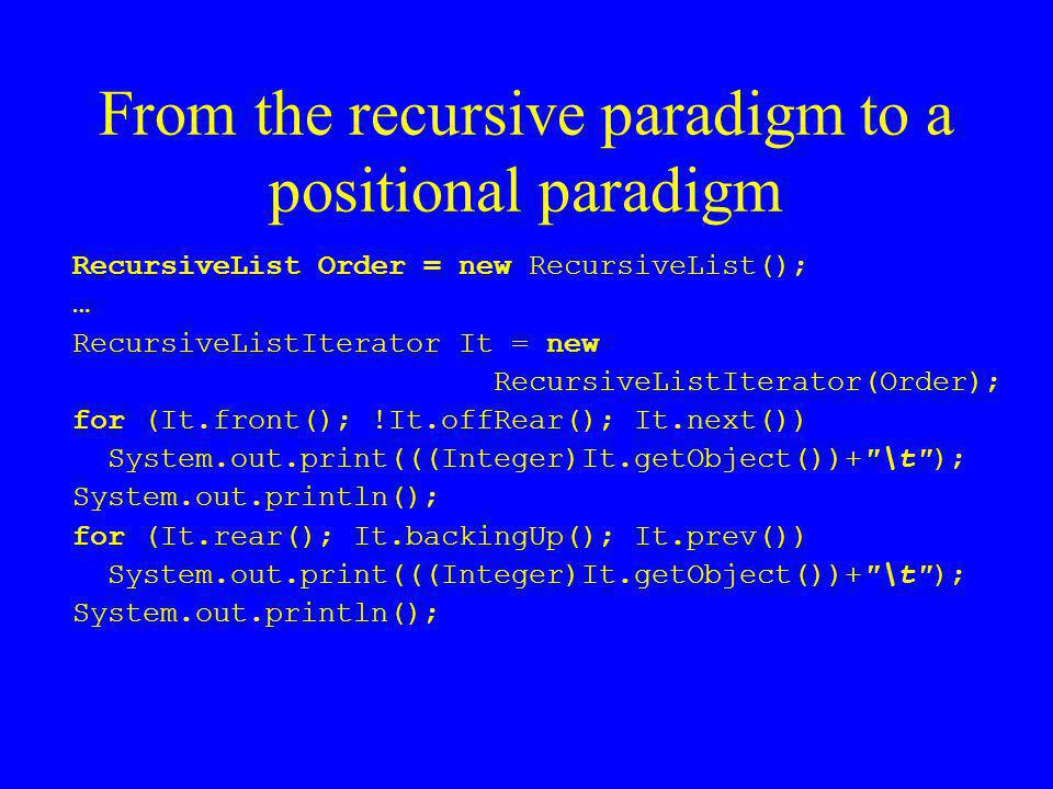 From the recursive paradigm to a positional paradigm RecursiveList Order = new RecursiveList(); … RecursiveListIterator It = new RecursiveListIterator(Order); for (It.front(); !It.offRear(); It.next()) System.out.print(((Integer)It.getObject())+ \t ); System.out.println(); for (It.rear(); It.backingUp(); It.prev()) System.out.print(((Integer)It.getObject())+ \t ); System.out.println();