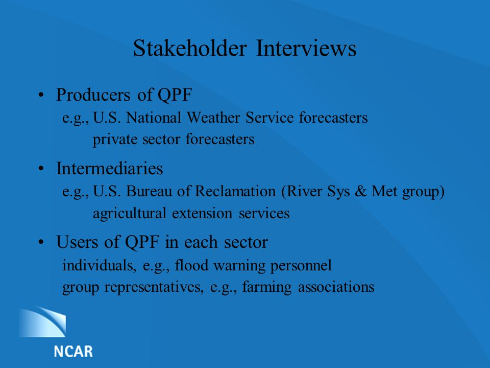List of Nominations Stakeholder Interviews Producers of QPF e.g.,U.S.