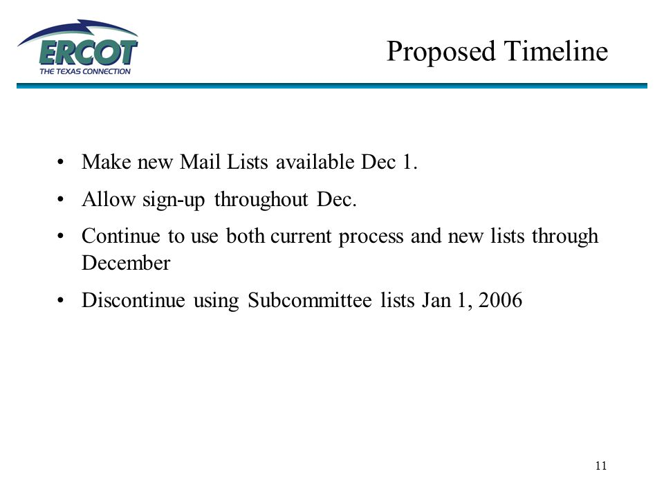 11 Proposed Timeline Make new Mail Lists available Dec 1.