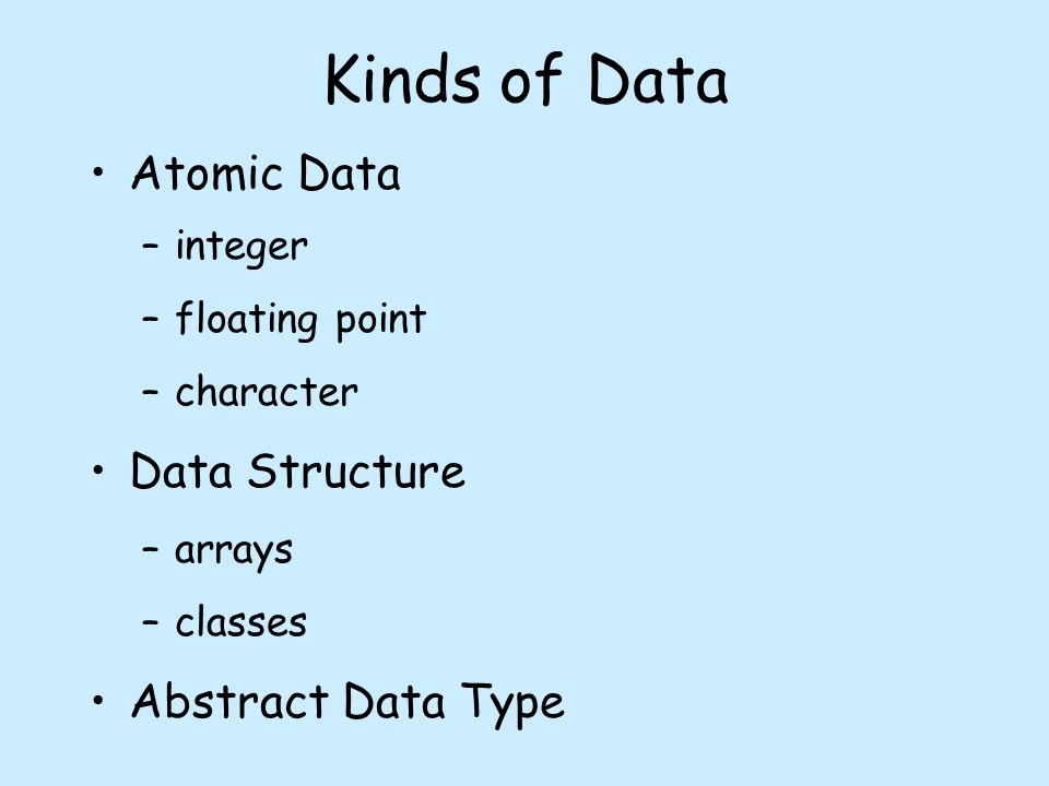 Kinds of Data Atomic Data –integer –floating point –character Data Structure –arrays –classes Abstract Data Type