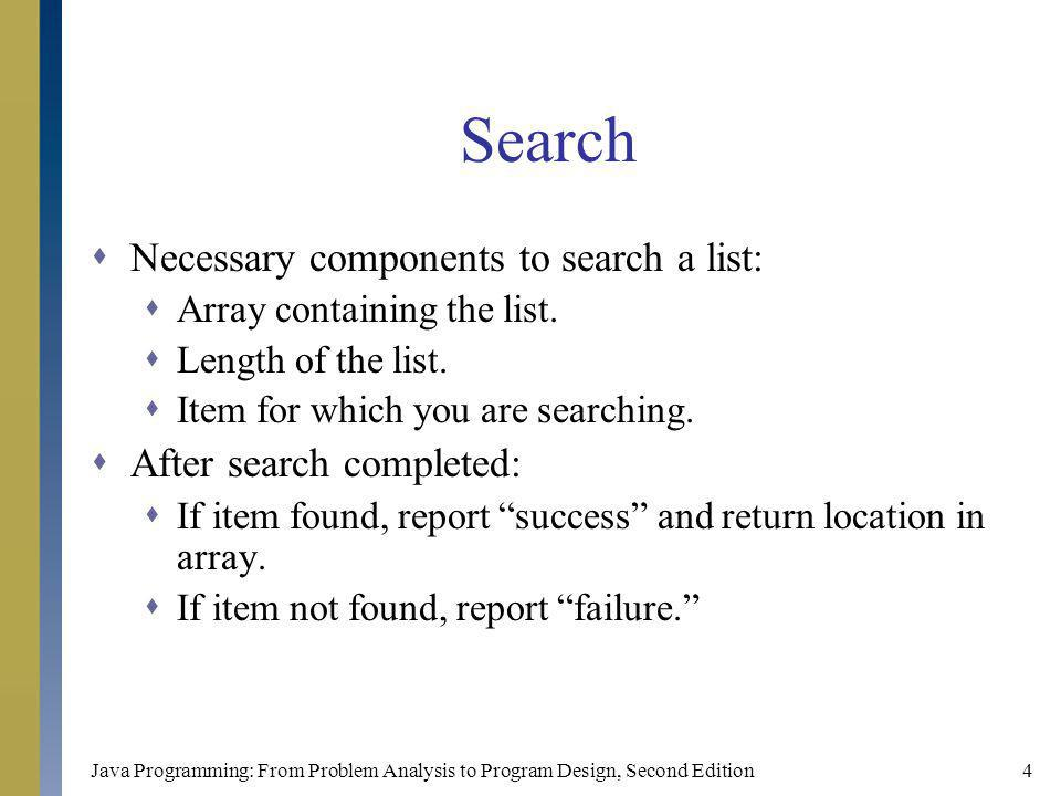 Java Programming: From Problem Analysis to Program Design, Second Edition4 Search Necessary components to search a list: Array containing the list.