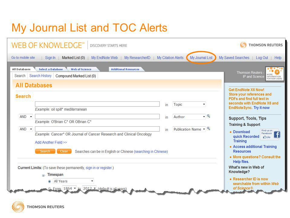 My Journal List and TOC Alerts