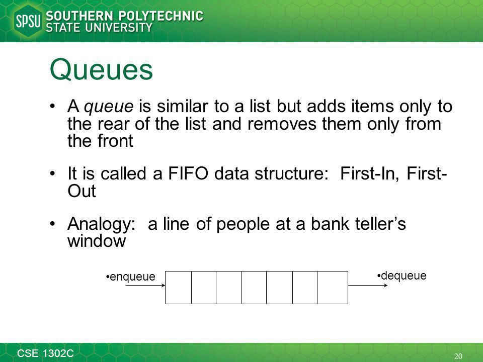 20 CSE 1302C Queues A queue is similar to a list but adds items only to the rear of the list and removes them only from the front It is called a FIFO data structure: First-In, First- Out Analogy: a line of people at a bank tellers window enqueue dequeue