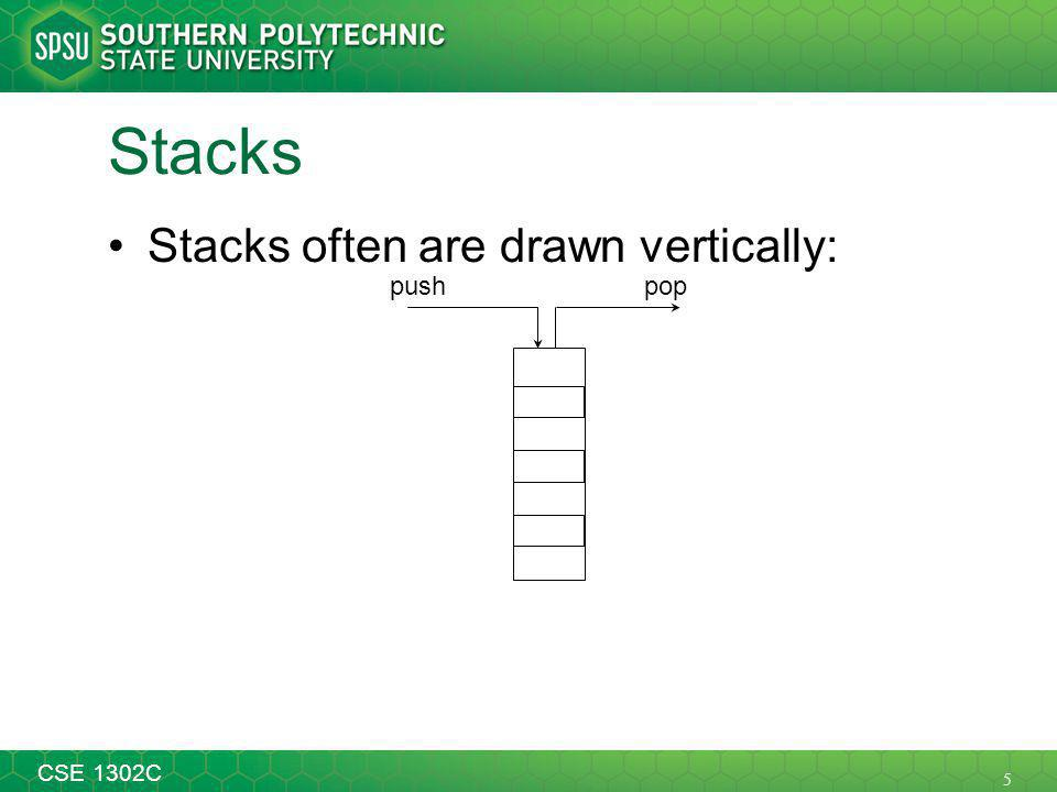 5 CSE 1302C Stacks Stacks often are drawn vertically: poppush