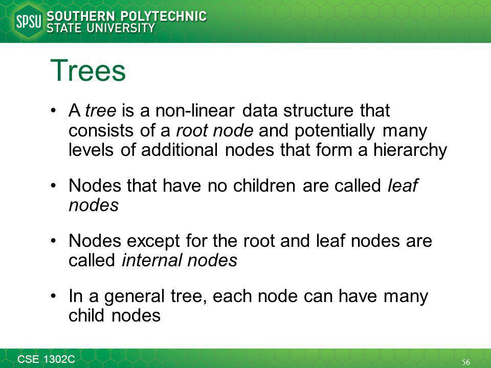 56 CSE 1302C Trees A tree is a non-linear data structure that consists of a root node and potentially many levels of additional nodes that form a hierarchy Nodes that have no children are called leaf nodes Nodes except for the root and leaf nodes are called internal nodes In a general tree, each node can have many child nodes