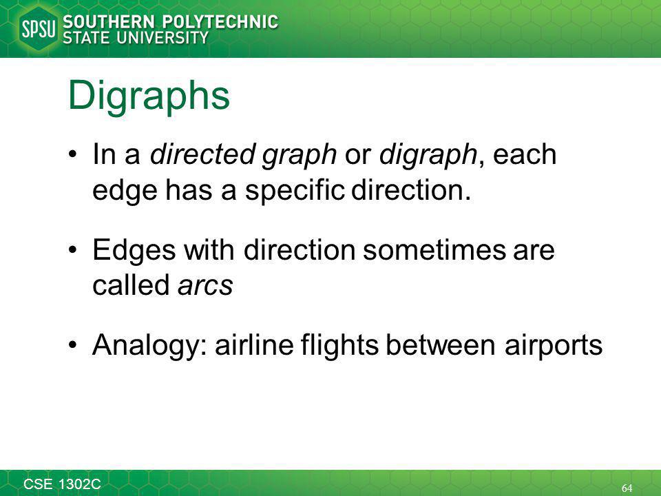 64 CSE 1302C Digraphs In a directed graph or digraph, each edge has a specific direction.