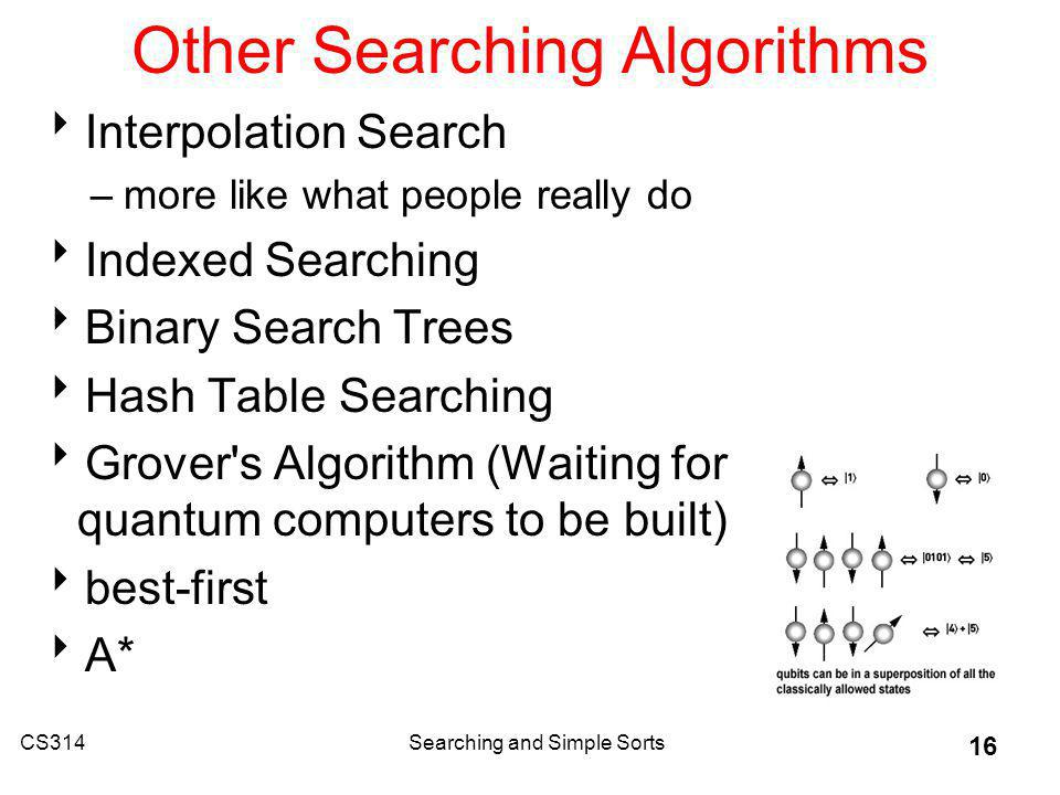 CS314Searching and Simple Sorts 16 Other Searching Algorithms Interpolation Search –more like what people really do Indexed Searching Binary Search Trees Hash Table Searching Grover s Algorithm (Waiting for quantum computers to be built) best-first A*