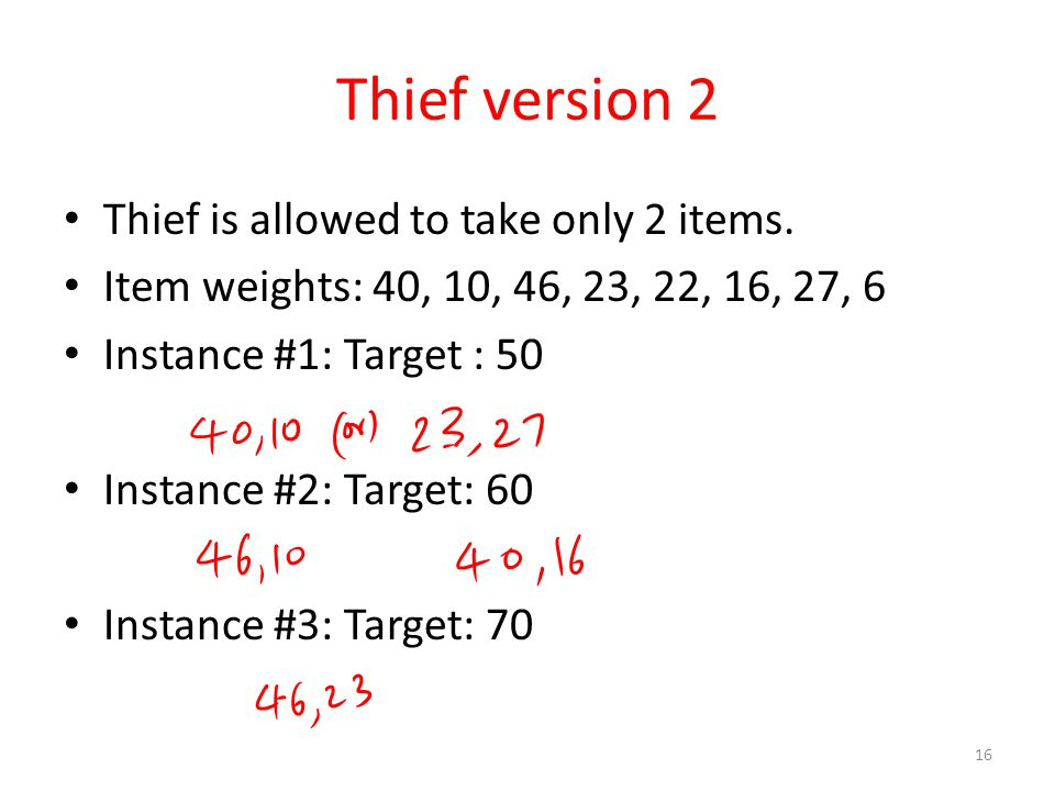 Thief version 2 Thief is allowed to take only 2 items.