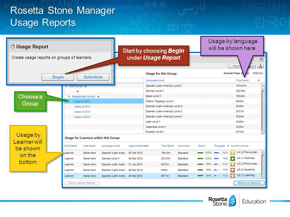 Rosetta Stone Manager Usage Reports Start by choosing Begin under Usage Report Choose a Group Usage by language will be shown here Usage by Learner will be shown on the bottom