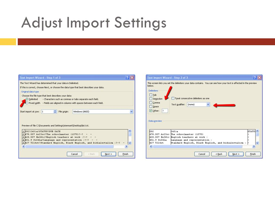 Adjust Import Settings