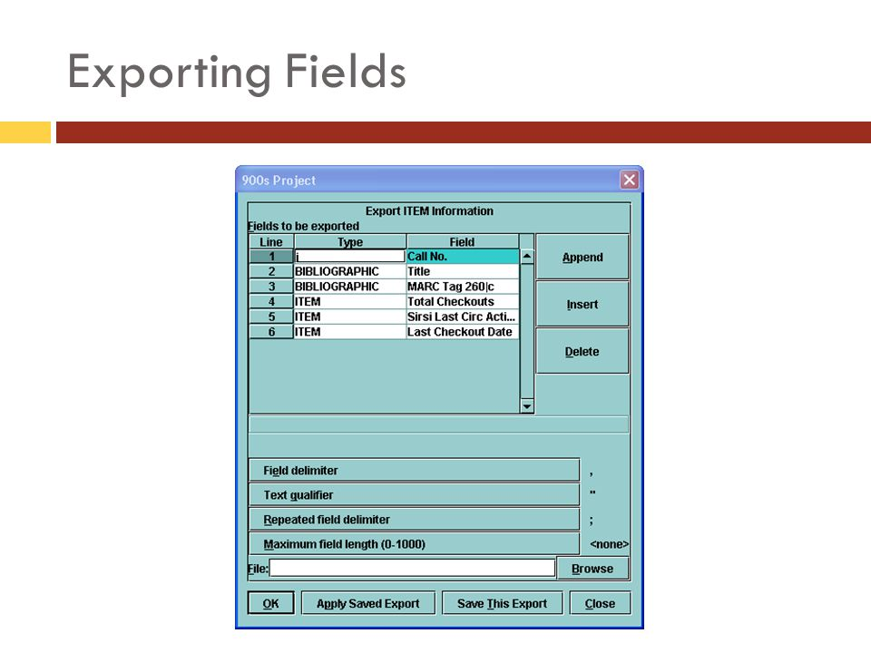 Exporting Fields