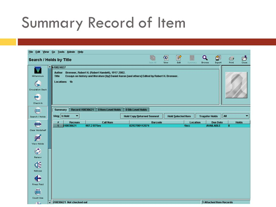Summary Record of Item