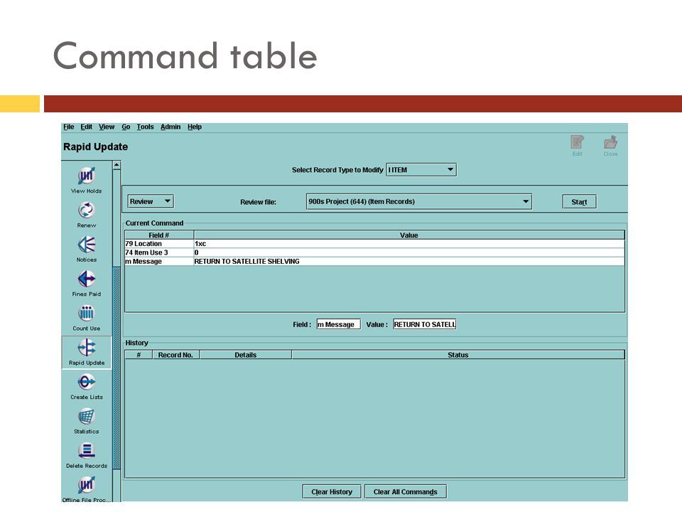 Command table