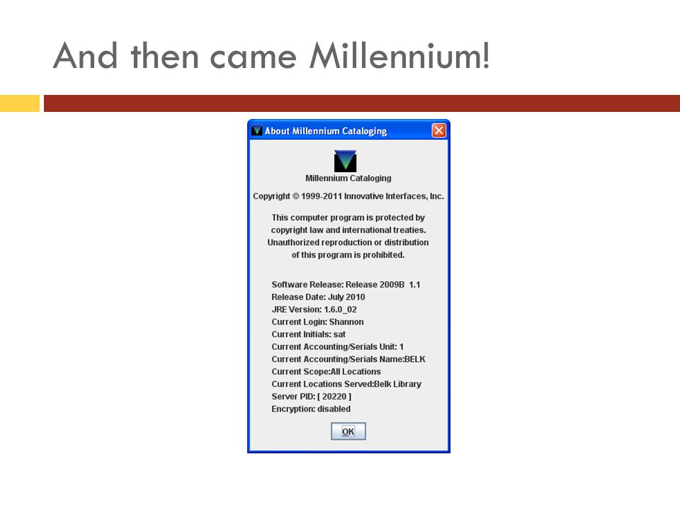 And then came Millennium!