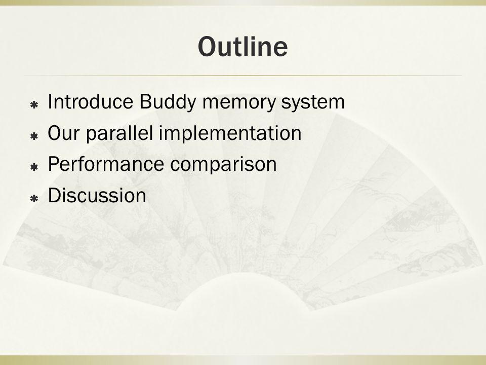 Outline Introduce Buddy memory system Our parallel implementation Performance comparison Discussion