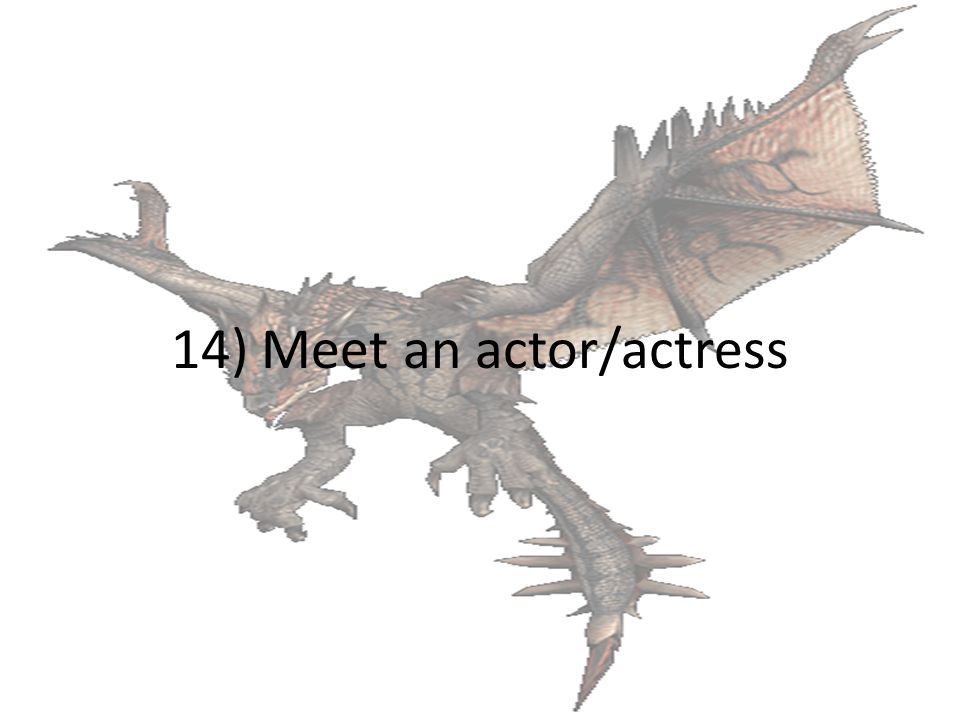 14) Meet an actor/actress