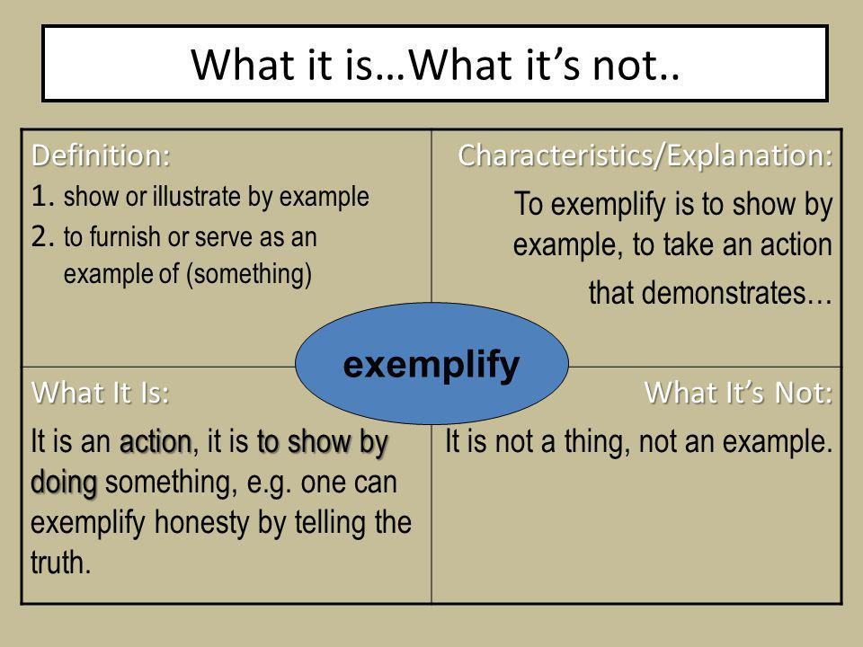 What it is…What its not.. Definition: 1. show or illustrate by example 2.