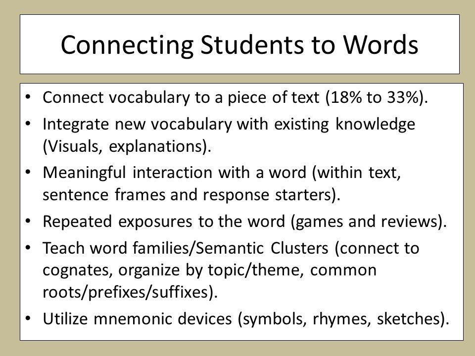 Connecting Students to Words Connect vocabulary to a piece of text (18% to 33%).