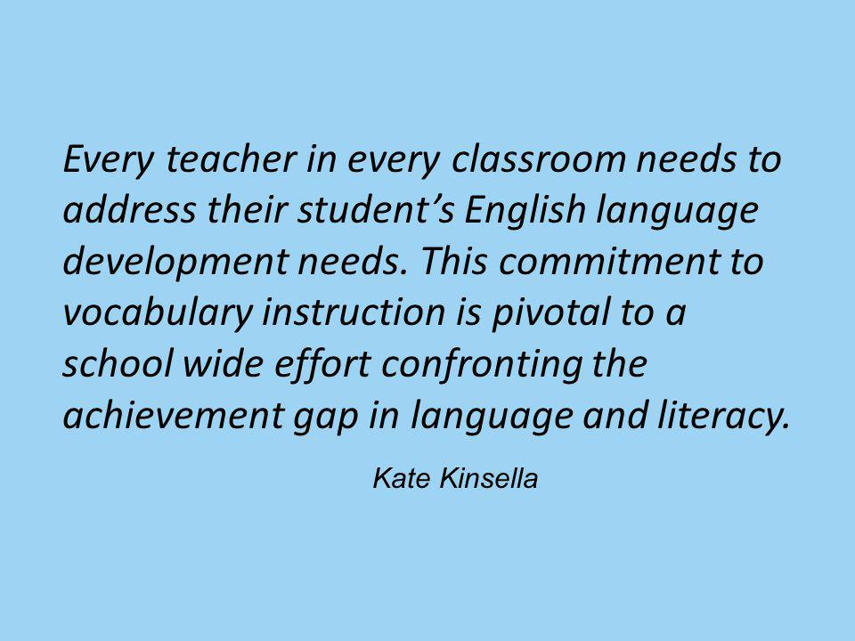 Every teacher in every classroom needs to address their students English language development needs.