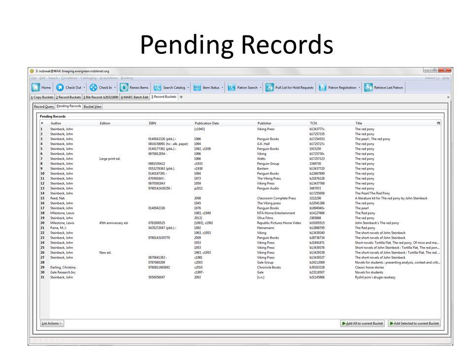 Pending Records