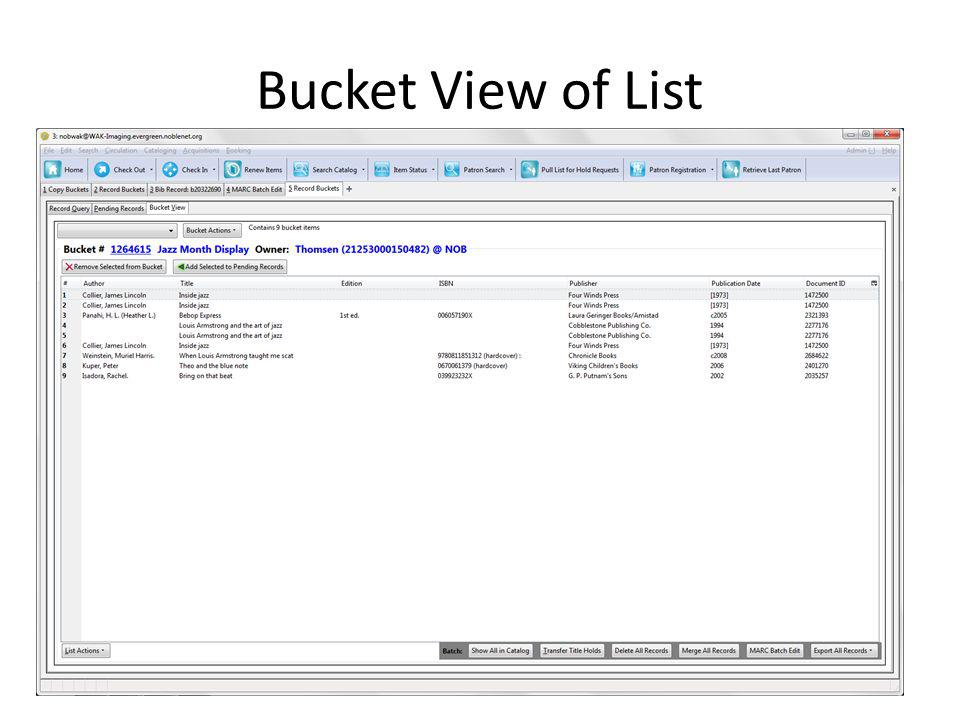 Bucket View of List