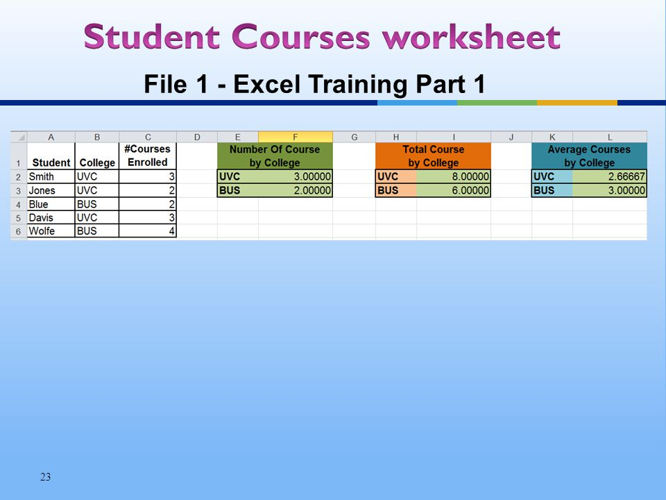 23 File 1 - Excel Training Part 1