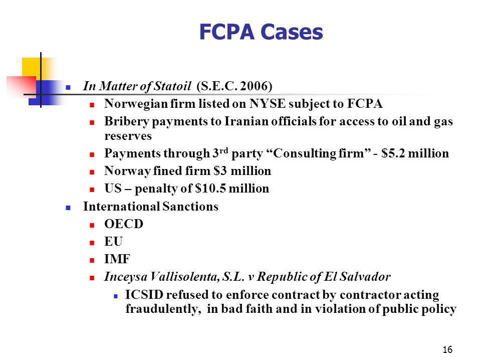 16 FCPA Cases In Matter of Statoil (S.E.C.