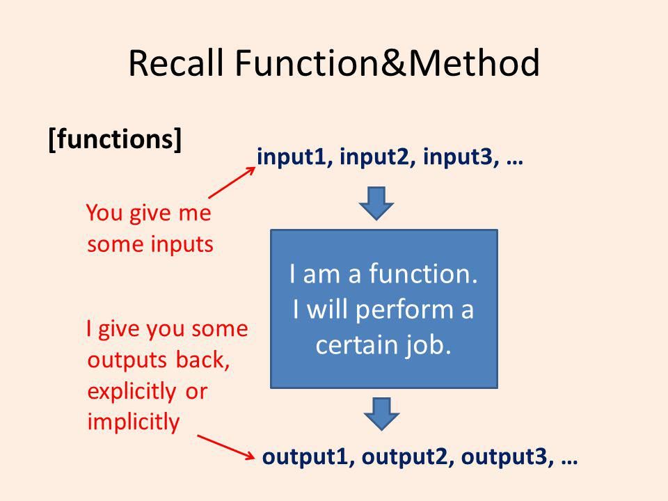 Recall Function&Method [functions] I am a function.