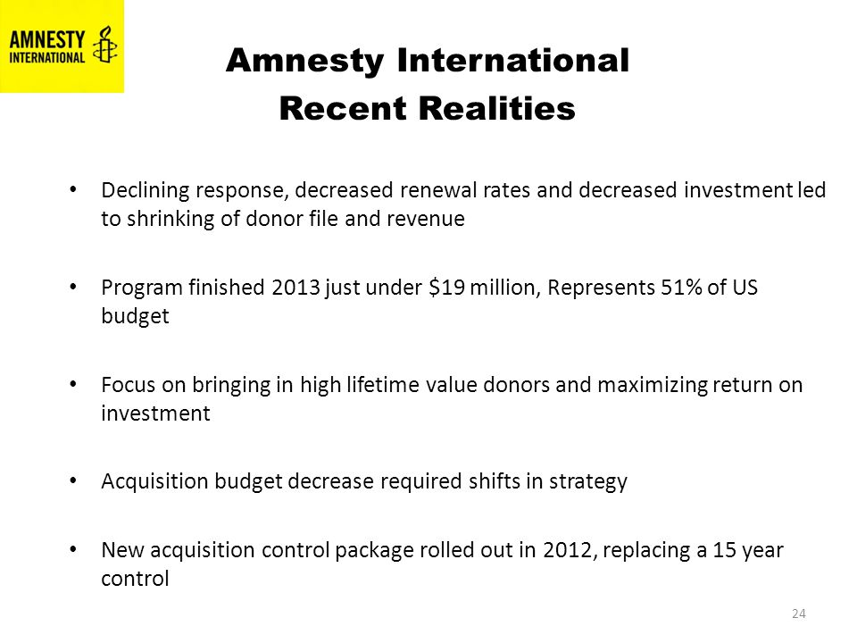 24 Amnesty International Recent Realities Declining response, decreased renewal rates and decreased investment led to shrinking of donor file and revenue Program finished 2013 just under $19 million, Represents 51% of US budget Focus on bringing in high lifetime value donors and maximizing return on investment Acquisition budget decrease required shifts in strategy New acquisition control package rolled out in 2012, replacing a 15 year control
