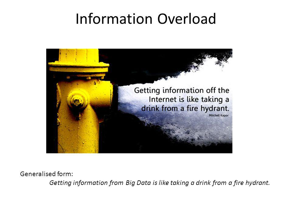 Information Overload Generalised form: Getting information from Big Data is like taking a drink from a fire hydrant.