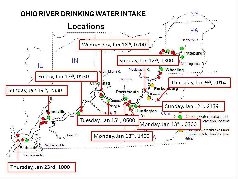 OHIO RIVER DRINKING WATER INTAKE Thursday, Jan 9 th, 2014 Sunday, Jan 12 th, 1300 Sunday, Jan 12 th, 2139 Monday, Jan 13 th, 0300 Monday, Jan 13 th, 1400 Wednesday, Jan 16 th, 0700 Tuesday, Jan 15 th, 0600 Friday, Jan 17 th, 0530 Sunday, Jan 19 th, 2330 Thursday, Jan 23rd, 1000