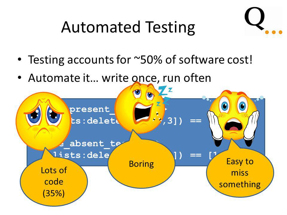 Automated Testing Testing accounts for ~50% of software cost.
