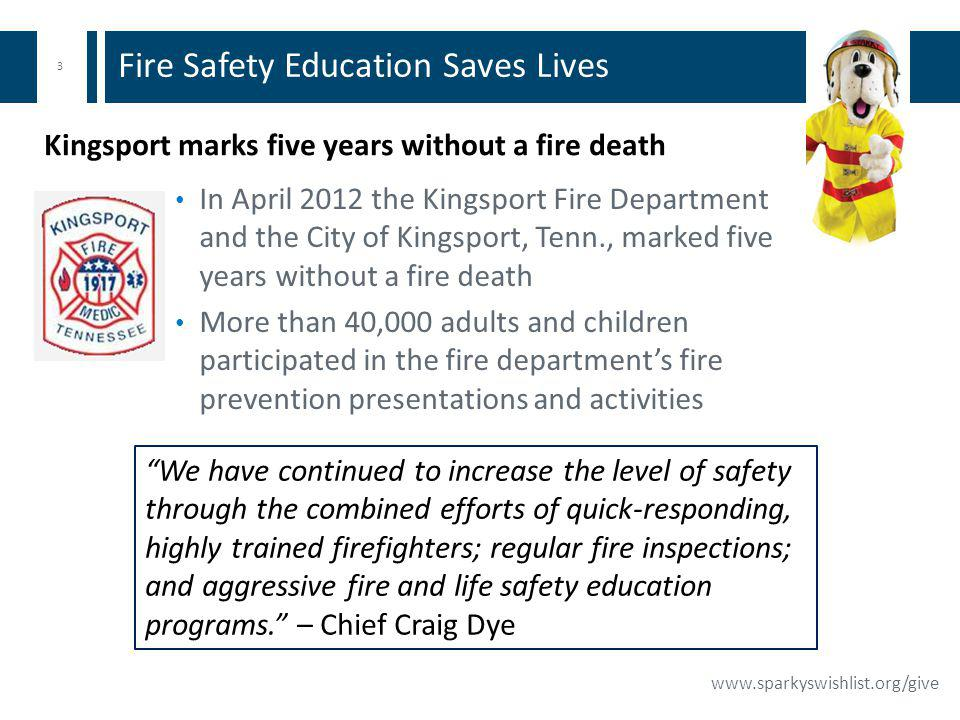 3 www.sparkyswishlist.org/give Fire Safety Education Saves Lives In April 2012 the Kingsport Fire Department and the City of Kingsport, Tenn., marked five years without a fire death More than 40,000 adults and children participated in the fire departments fire prevention presentations and activities We have continued to increase the level of safety through the combined efforts of quick-responding, highly trained firefighters; regular fire inspections; and aggressive fire and life safety education programs.