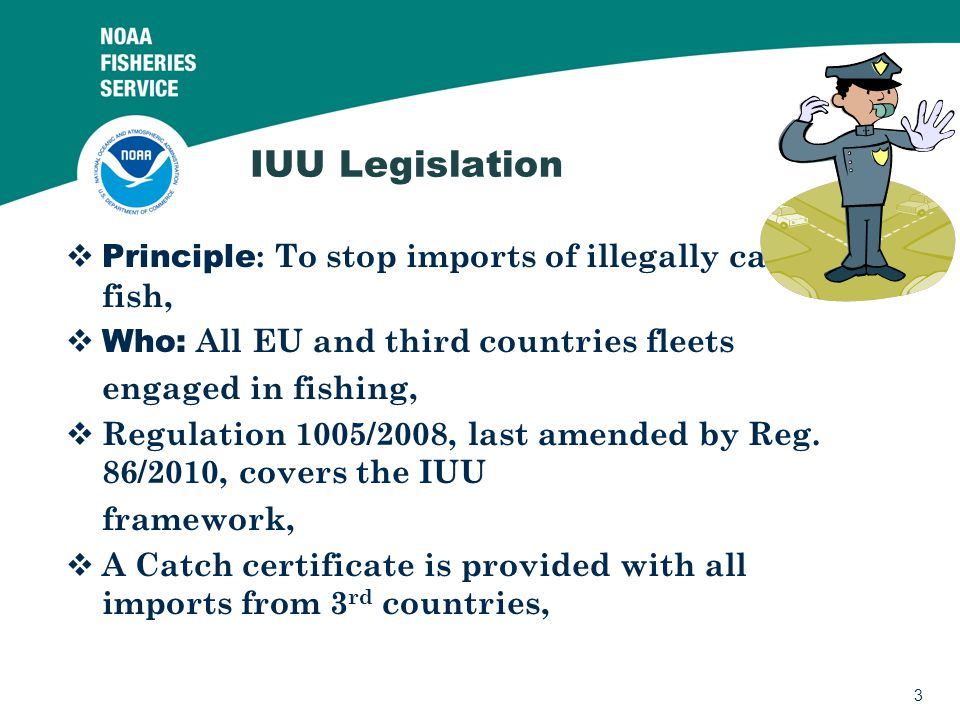2 Summary IUU Legislation EU health import requirements Other issues