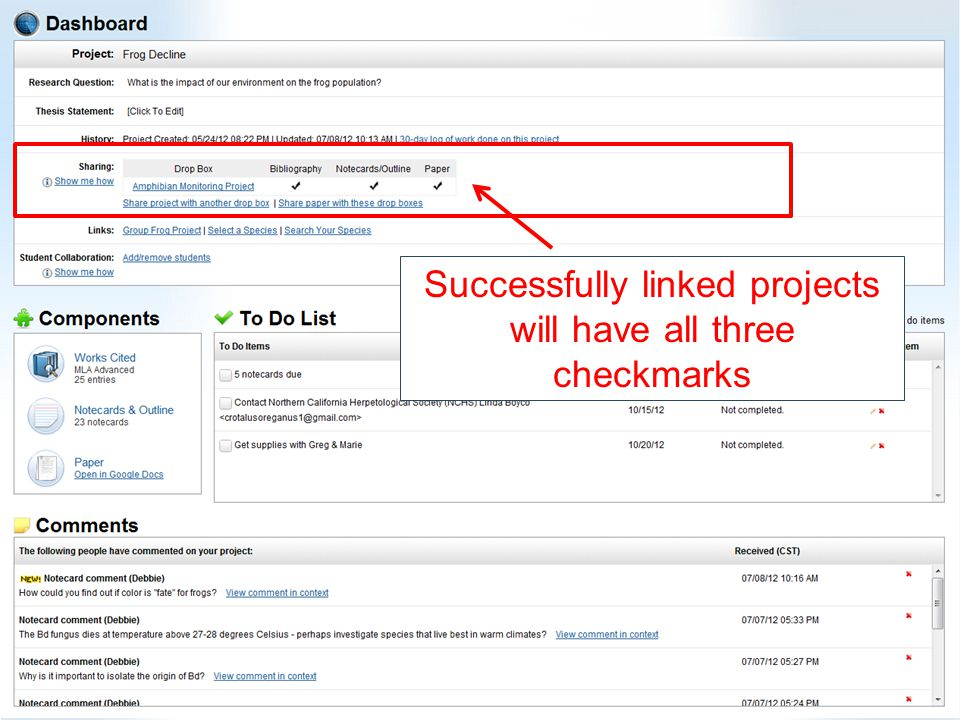 Successfully linked projects will have all three checkmarks