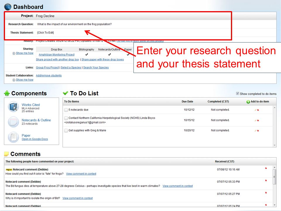 Enter your research question and your thesis statement