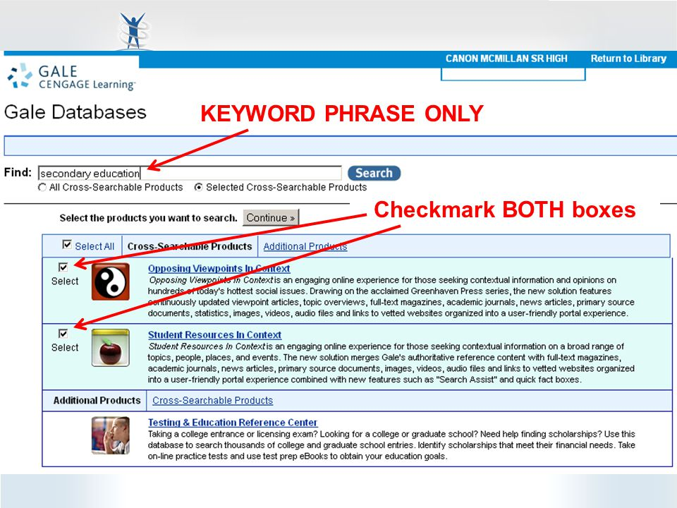 Checkmark BOTH boxes KEYWORD PHRASE ONLY