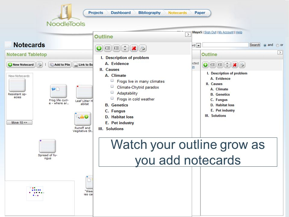 Watch your outline grow as you add notecards