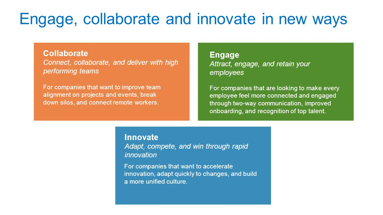Engage, collaborate and innovate in new ways For companies that want to improve team alignment on projects and events, break down silos, and connect remote workers.