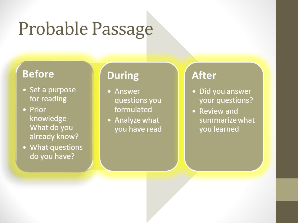 Before Set a purpose for reading Prior knowledge- What do you already know.