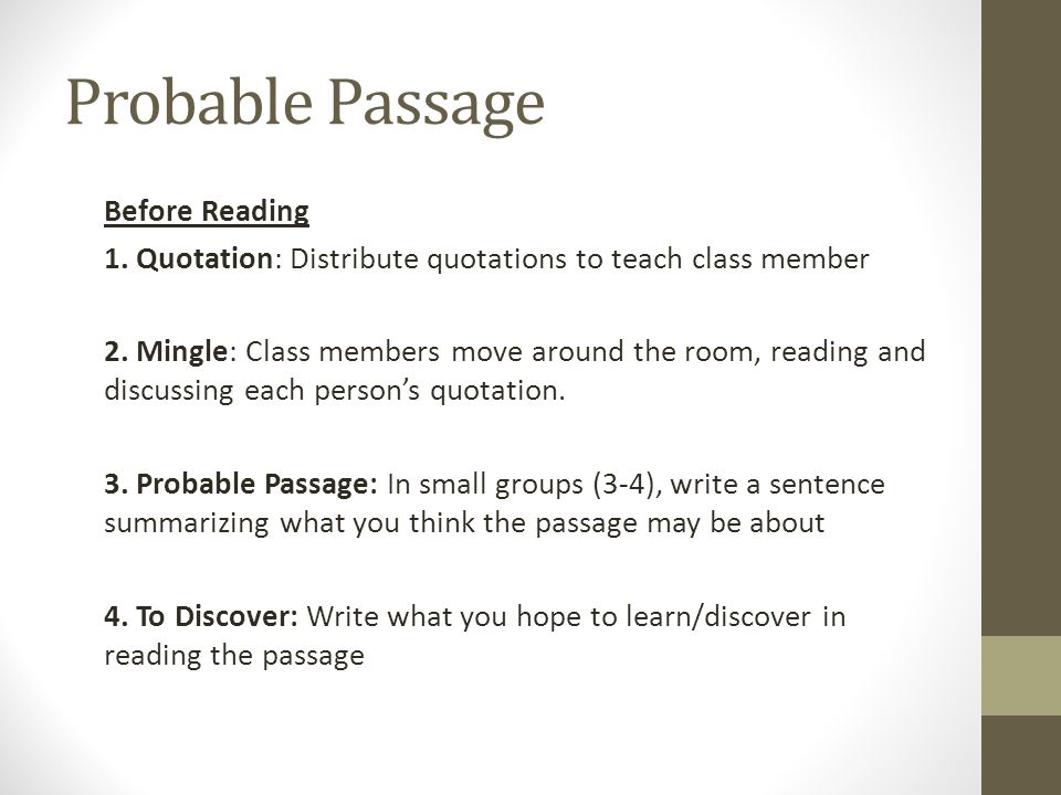 Before Reading 1. Quotation: Distribute quotations to teach class member 2.