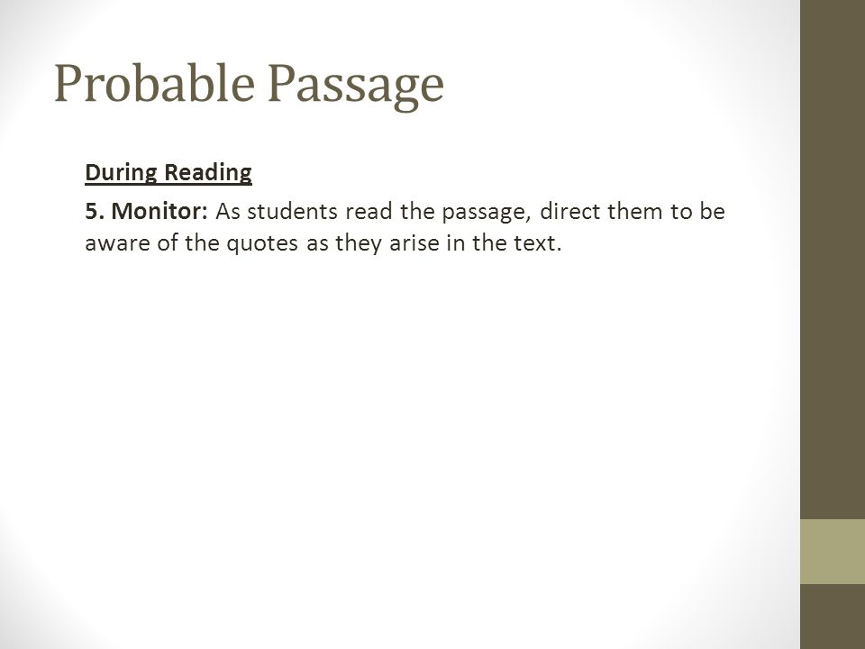Probable Passage During Reading 5.