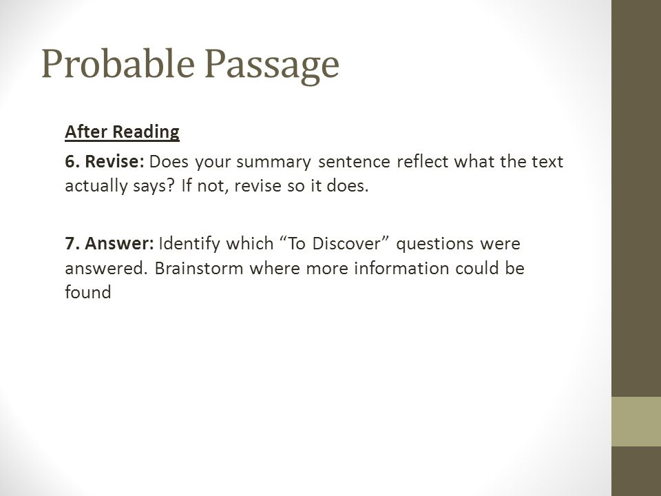 Probable Passage After Reading 6.