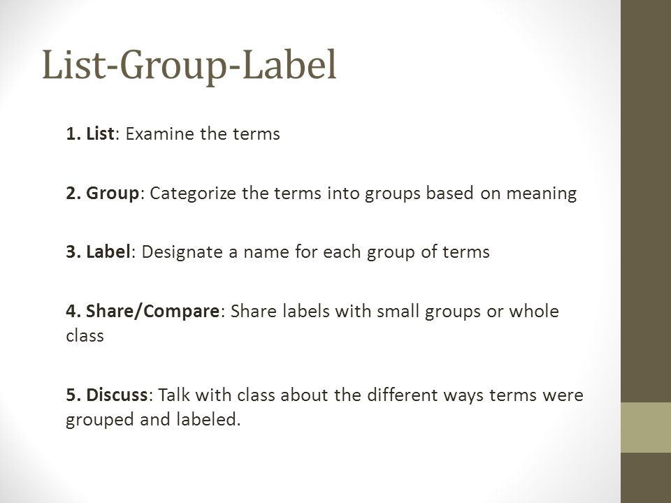 List-Group-Label 1. List: Examine the terms 2.