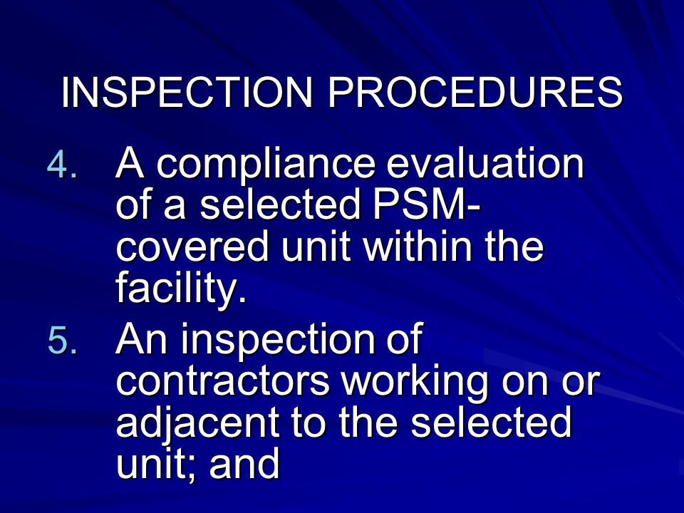 INSPECTION PROCEDURES 4.