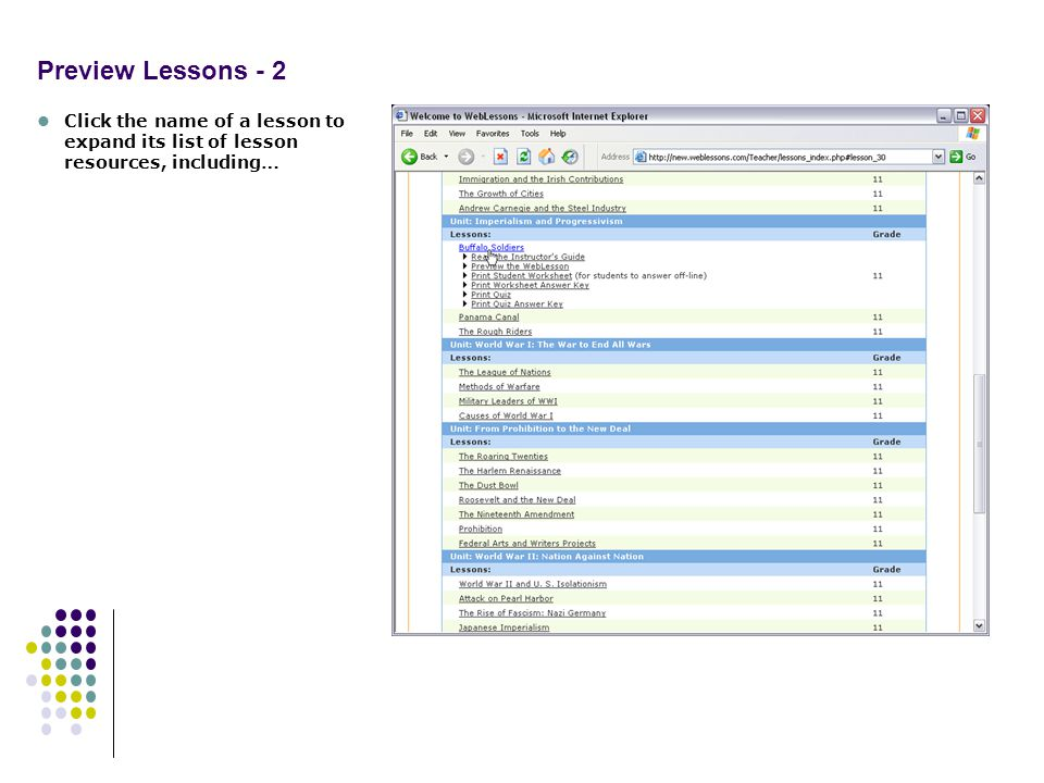 Preview Lessons - 2 Click the name of a lesson to expand its list of lesson resources, including…