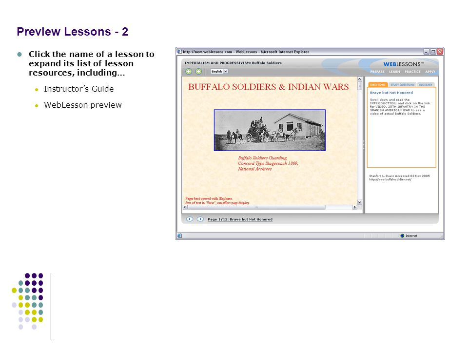 Preview Lessons - 2 Click the name of a lesson to expand its list of lesson resources, including… Instructors Guide WebLesson preview